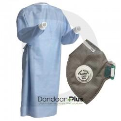 پکیج گان جراحی جلو آستین واتر به همراه ماسک آپولو